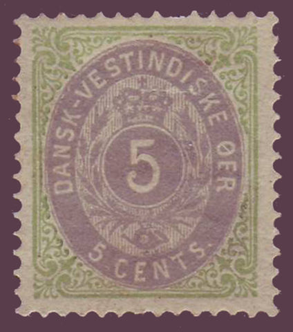 DWI082 Danish West Indies Scott # 8  VF MH