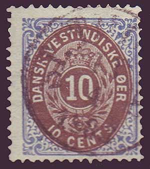 DWI10.1 Danish West Indies Scott # (10  brown and ultra)