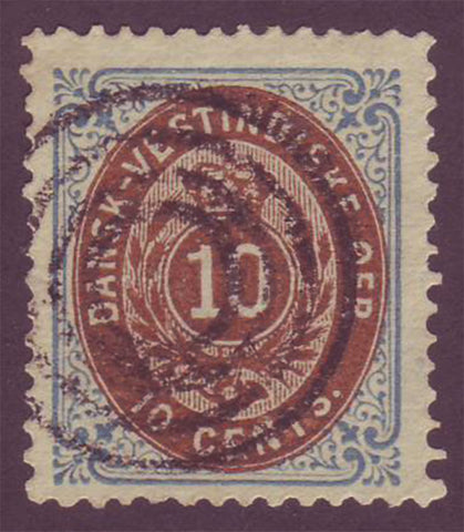 DWI10.2 Danish West Indies Scott # 10c (inverted frame)