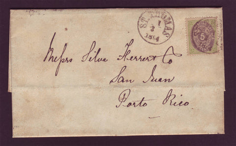 DWI5001 Danish West Indies - Folded Letter to Porto Rico 1884