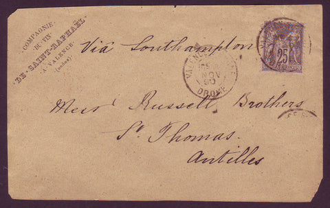 DWI5002 France, Business Letter (front) Incoming to St. Thomas DWI - 1890