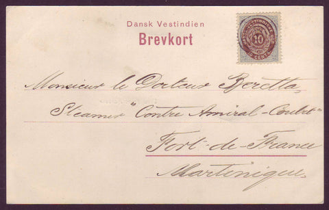 DWI5003 Picture Postcard, Danish West Indies to Martinique - 1899