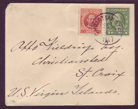 DWI5004 Danish West Indies Transition Period Cover (Philatelic) 1917