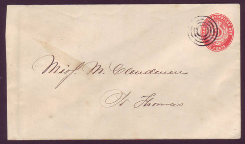 DWI5006 Danish West Indies Postal Stationery Envelope, Local Usage 1895