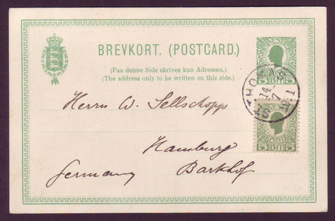 DWI5008 Danish West Indies Postal Stationery Card to Germany 1911