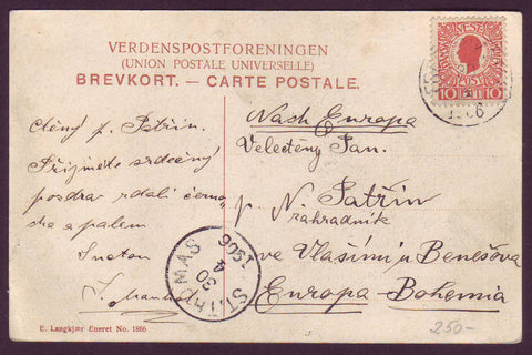 DWI5012 Danish West Indies Picture Post Card, Frederiksted to Bohemia, Europe 1906