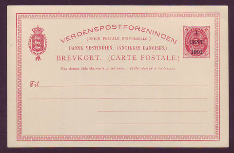 DWI5013 Danish West Indies Postal Stationery Card, VF Unused.