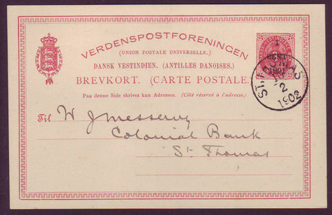 DWI5014 Danish West Indies Postal Stationery Card, VF Used.