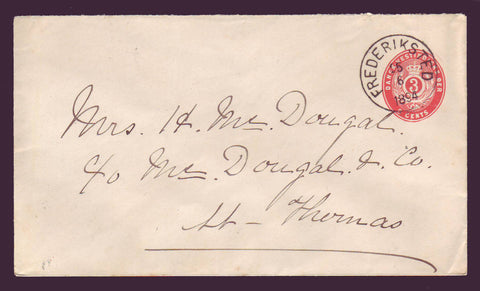 DWI5015 Danish West Indies Postal Stationery Envelope, VF Used.