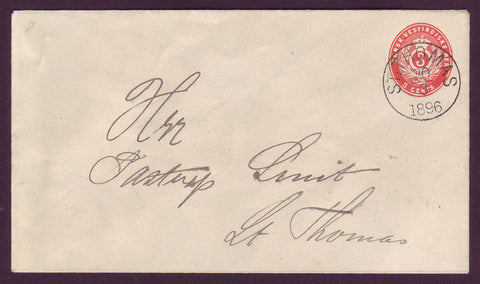 DWI5016 Danish West Indies Postal Stationery Envelope, VF Used.