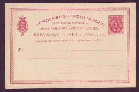DWI5020 Danish West Indies Postal Stationery Postcard, VF Unused