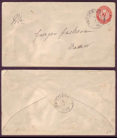 DWI5022ab Danish West Indies  Stamped envelope Facit FK8. Local usage 1900.