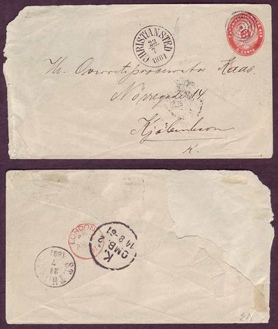 DWI5023ab Danish West Indies,  Stamped envelope  to Denmark. 1881
