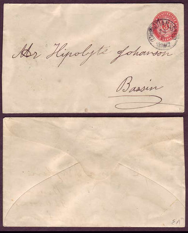 DWI5024ab Danish West Indies  Stamped envelope - local usage. 1892.