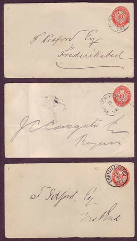 DWI5025 Danish West Indies. 3 Postal Stationery Envelopes (fronts), VF Used