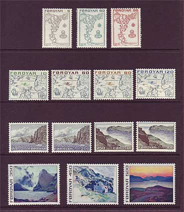 FA0007-201 Faroe Is. Scott # 7-20 VF MNH, First Issue 1975