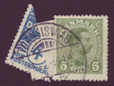 FA0001a Faroe Is. Denmark # 88a (perf 14) bisect + 5ø # 97 - 1919 Provisional