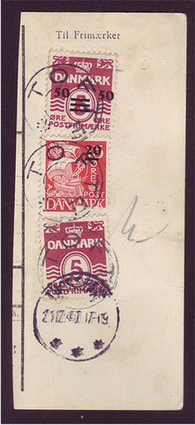 FA0001b Faroe Is. Parcel card clip with Scott # 5 - WWII Provisional