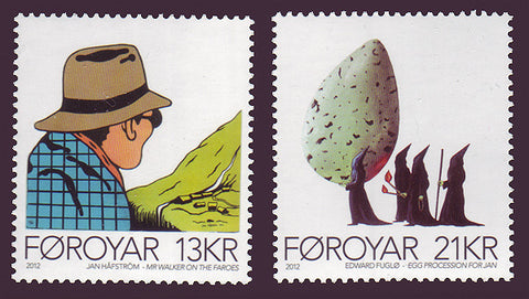 FA0589-90 Faroe Is.   Scott # 589-90 MNH,                   Contemporary Art  2012