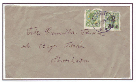 FA5005 Faroe Islands, Scott #1 on January 18, 1919 cover