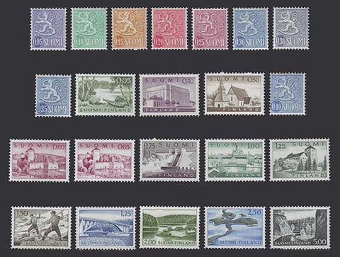 FI0398-4151 Finland Scott # 398-415 VF MNH, Views and Definitives 1963-67