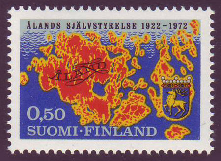 FI05161 Finland Scott # 516 VF MNH, Map and Arms of Åland 1972