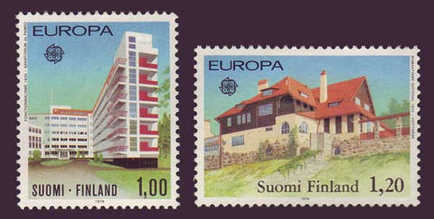 Architecture on 2 Finland stamps shows modern sanitorium and country studio home.