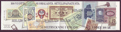 FI07061 Finland Scott # 706 booklet pane, Finnish Banknotes 1985