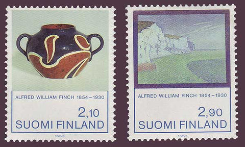 Art and sculpture on stamps.  Ceramic pot with 2 handles in brown and blue, and a landscape painting.