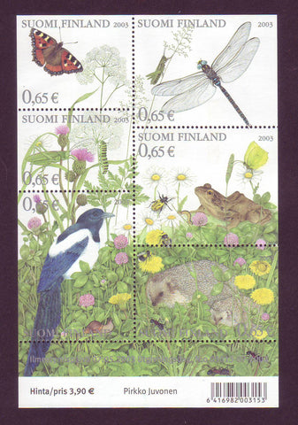 FI1192 Finland Scott # 1197 VF sheet MNH, Summer Flora and Fauna 2003