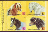 booklet pane of 4 Finland stamps showing different breeds of horses.