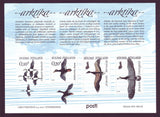 Finland sheet of 5 stamps from 2017 showing arctic birds in flight.