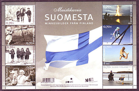 Sheet of 8 postage stamps showing Finnish people at work and play.