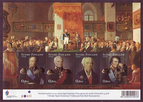 Sheet of 4 postage stamps showing the portraits of Finnish historical figures.
