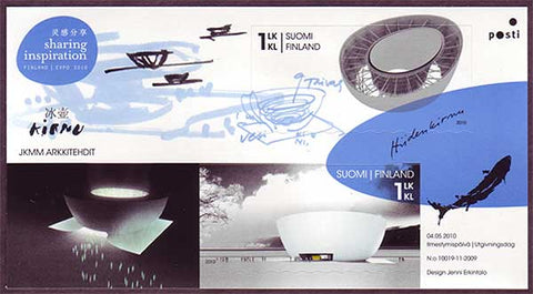 This sheet contains 2 stamps showing models of the Finnish Pavilion in Shanghai.