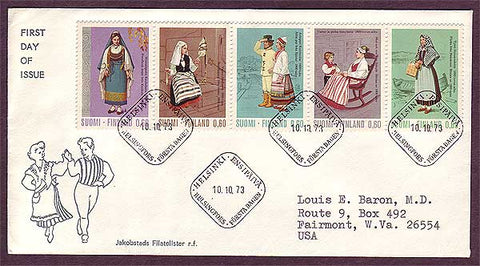 FI5018 Finland FDC to USA, Regional Costumes 1973