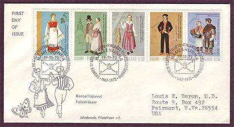 FI5021 Finland FDC to USA, Regional Costumes 1972
