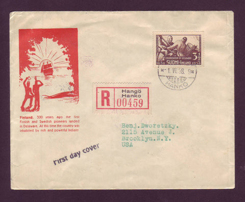 FI5032 Finland Registered FDC to USA, Colonization of Delaware 1938