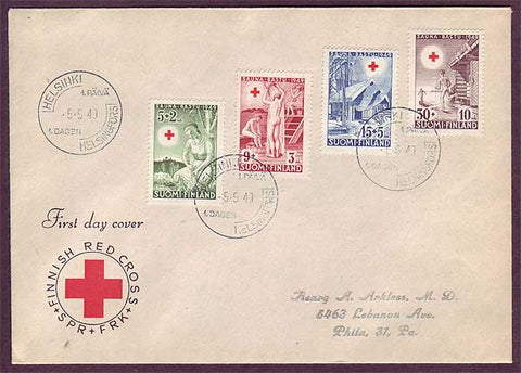 FI5035PH Finland FDC to USA Scott # B94-97, Finnish Red Cross 1949