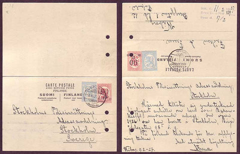 FI5036PH Finland       Postal reply card to Sweden,  1927