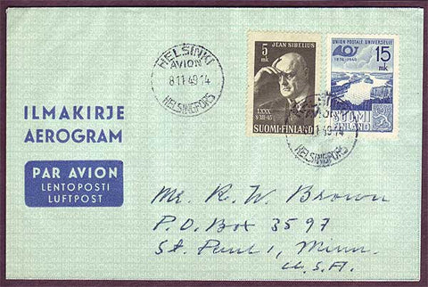 FI5041 Finland Airmail letter to USA 1949
