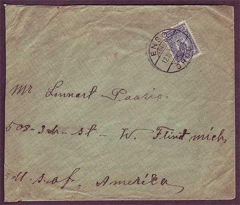 FI5042 Finland Karelia (Grand Duchy of Finland) Letter to USA 1914