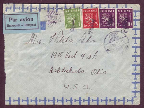 FI5059PH Finland Airmail letter to USA 1948