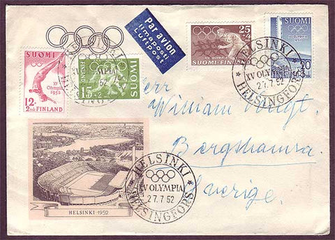 FI5064PE Finland letter to Sweden,        Summer Olympics   1952
