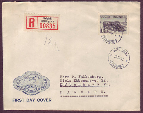 FI5065PH Finland        Registered First Day Cover to Denmark       16.10.46        Mail coach