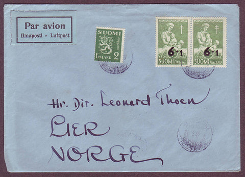 FI5070PH Finland Airmail letter to Norway
