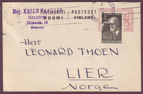FI5071PH Finland       Postal Stationery Card to Norway 1946