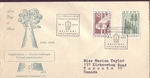 FI5074 Finland FDC to Canada, Forestry 1959