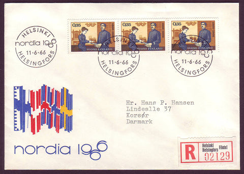 FI5076 Finland Registered FDC to Denmark, Nordia 1966