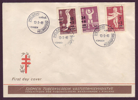 FI5085 Finland FDC to Denmark,  Children and Tuberculosis 1948